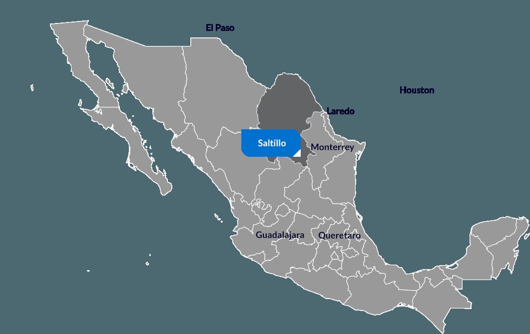 Karte mit Saltillo in Coahula