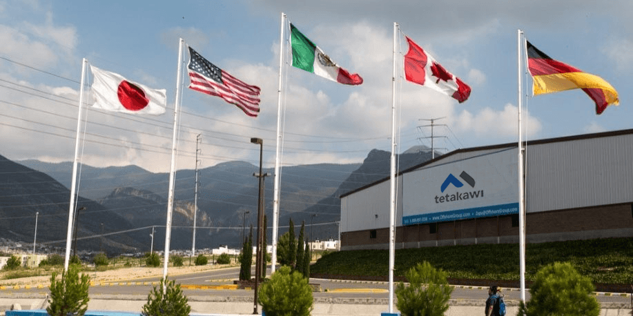Flags at zapa industrial park in Saltillo Coahuila